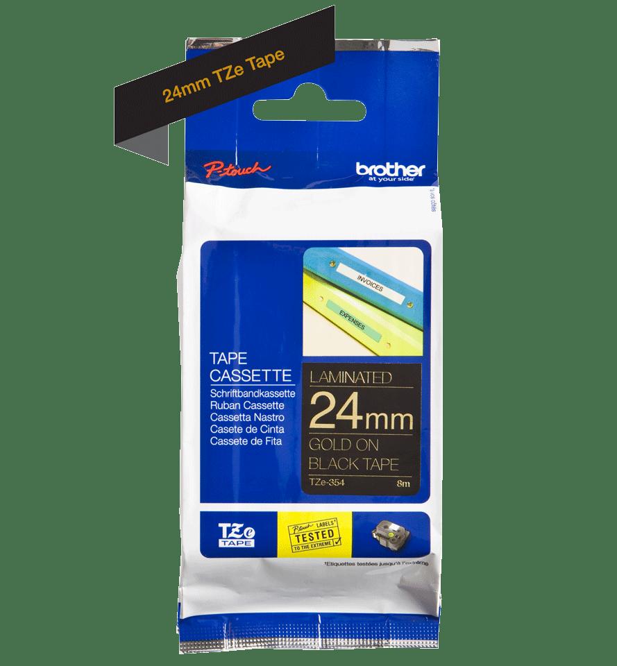 Originele Brother TZe-354 label tapecassette – goud op zwart, breedte 24 mm 2