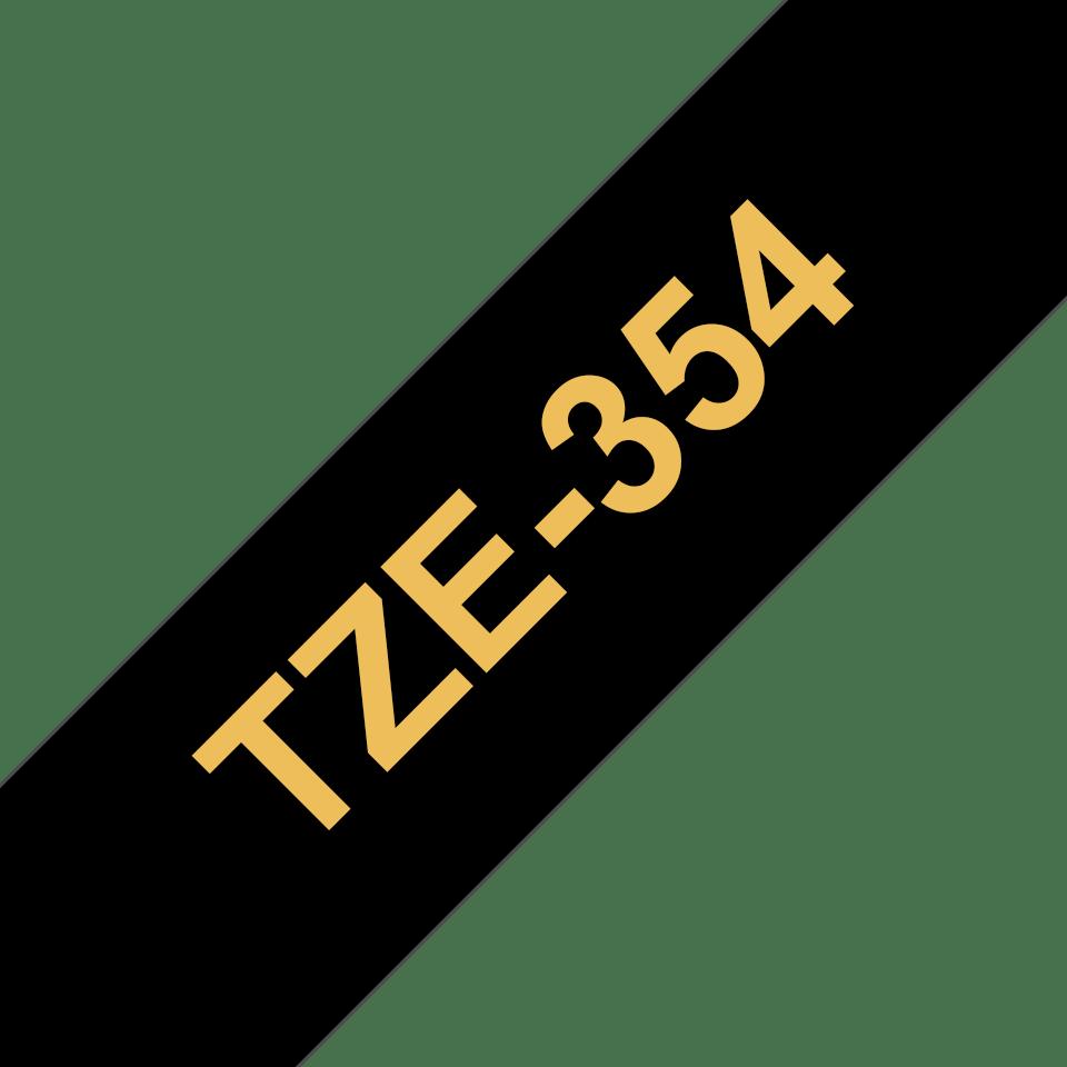 Originele Brother TZe-354 label tapecassette – goud op zwart, breedte 24 mm
