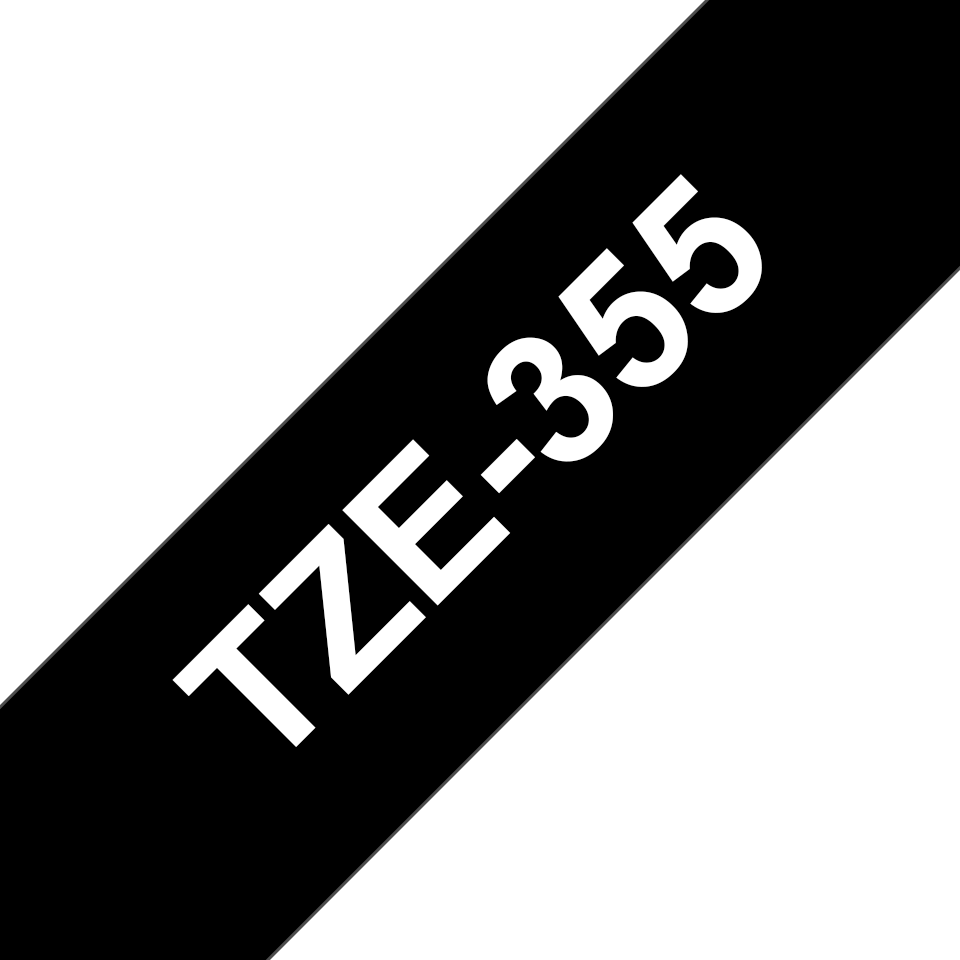 Originele Brother TZe-355 label tapecassette – wit op zwart, breedte 24 mm