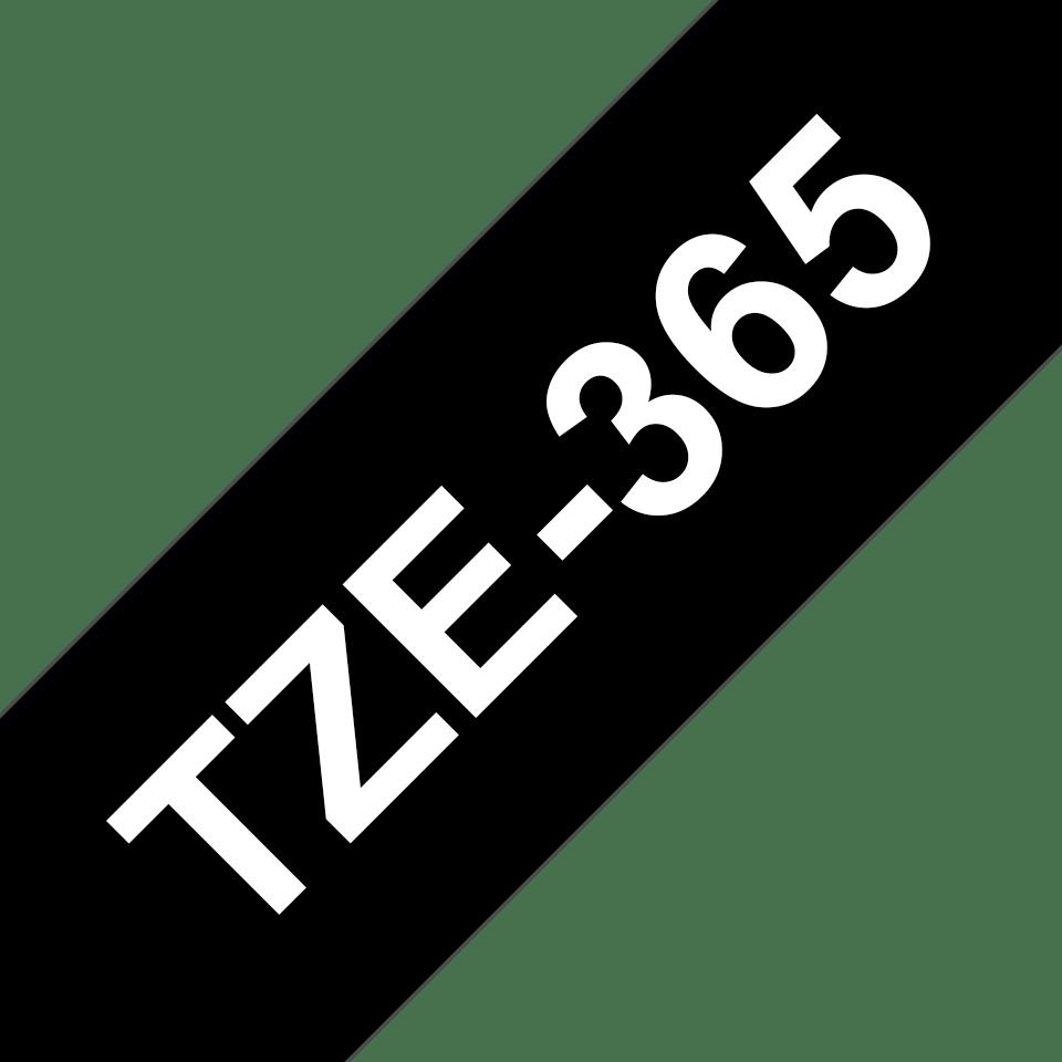 Originele Brother TZe-365 label tapecassette – wit op zwart, breedte 36 mm