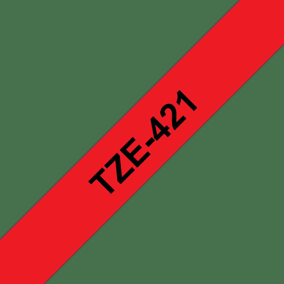 Originele Brother TZe-421 label tapecassette – zwart op rood, breedte 9 mm