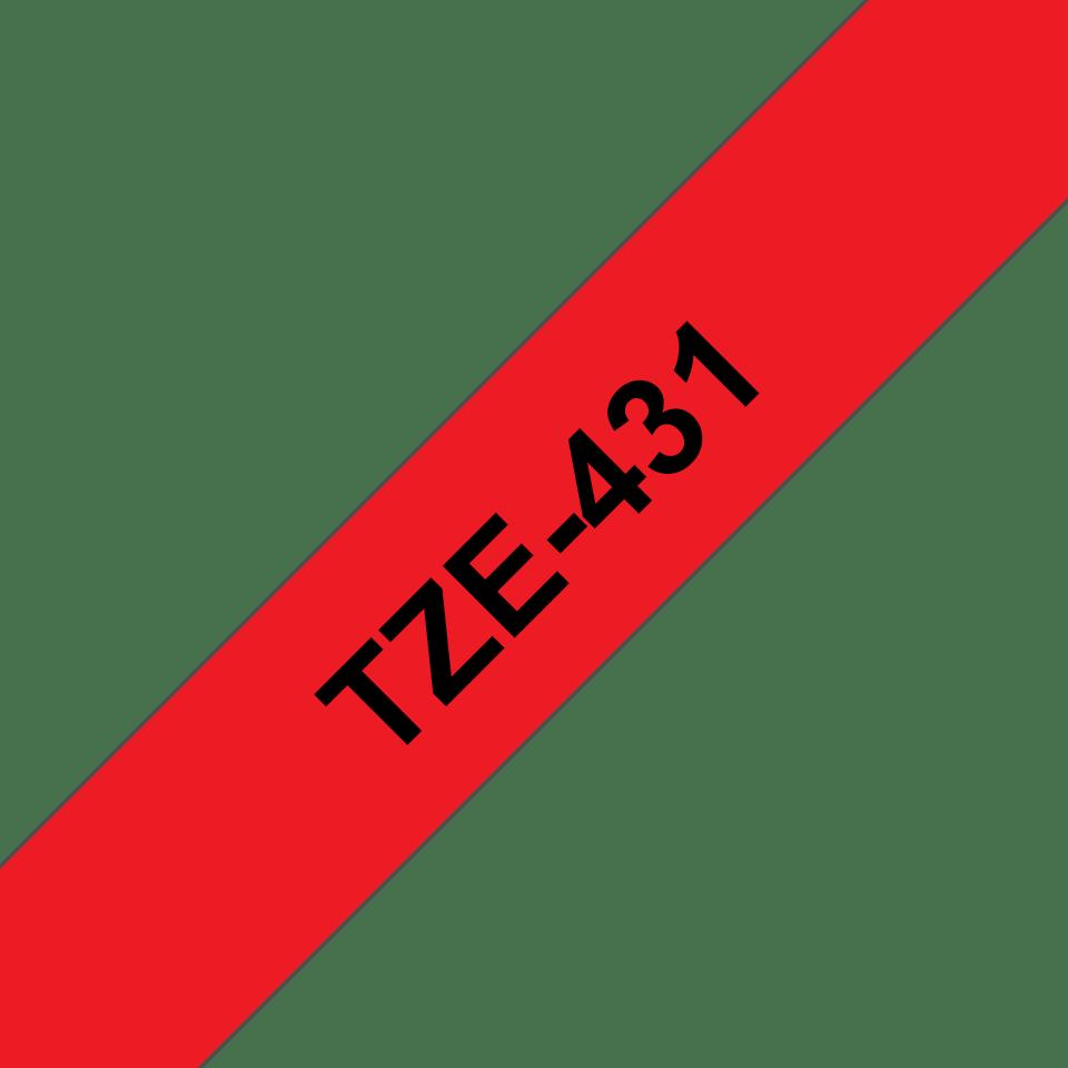 Originele Brother TZe-431 label tapecassette – zwart op rood, breedte 12 mm