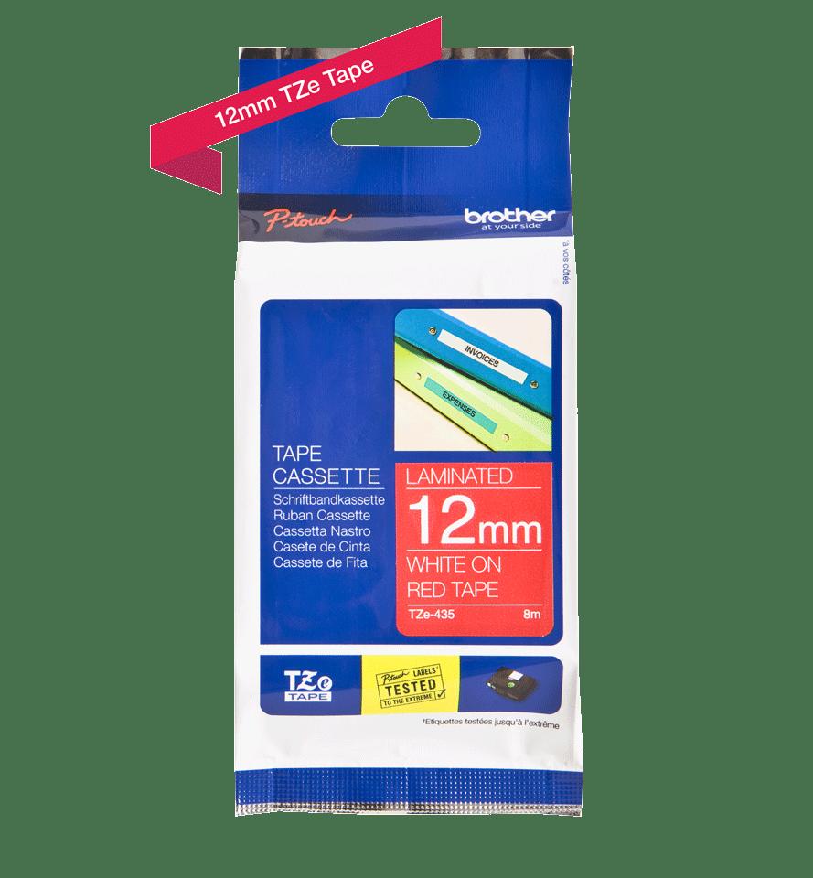 Originele Brother TZe-435 tapecassette – wit op rood, breedte 12 mm 3
