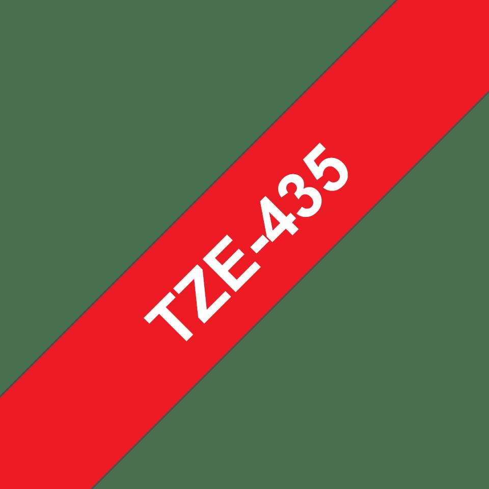 Originele Brother TZe-435 tapecassette – wit op rood, breedte 12 mm