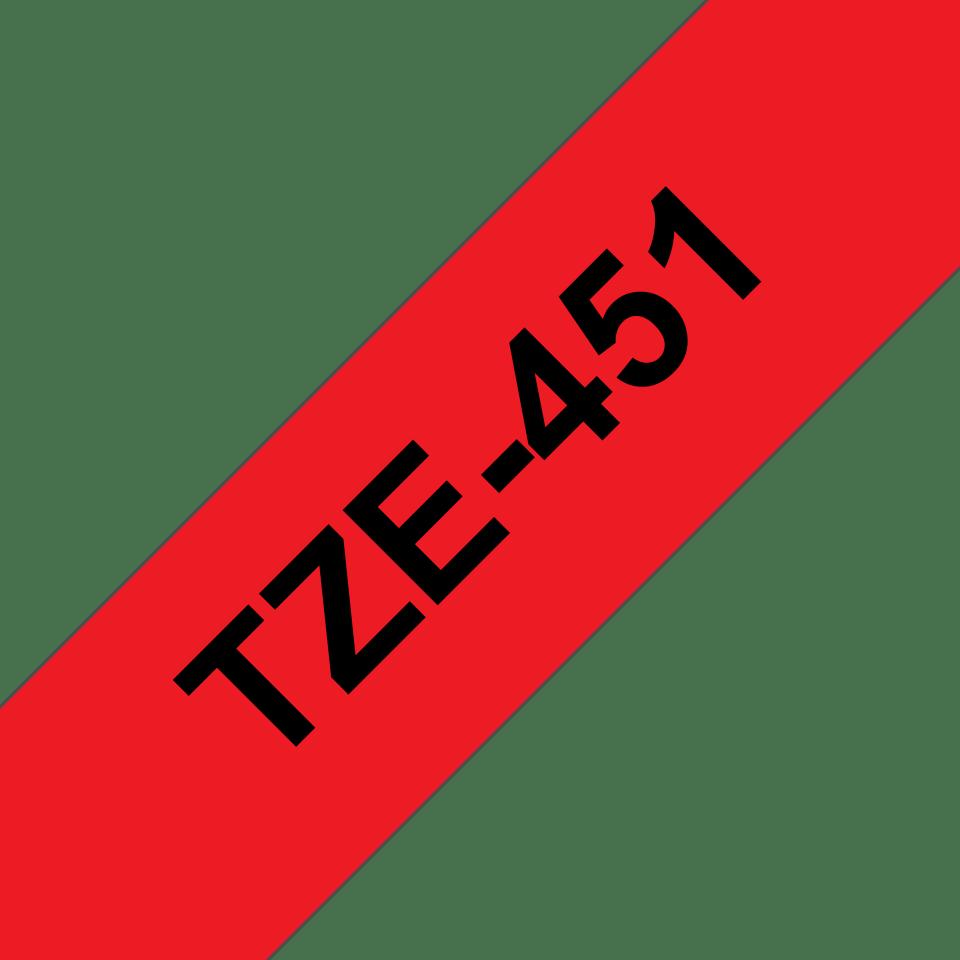 Originele Brother TZe-451 label tapecassette – zwart op rood, breedte 24 mm