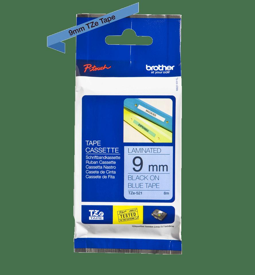 Originele Brother TZe-521 label tapecassette – zwart op blauw, breedte 9 mm 3