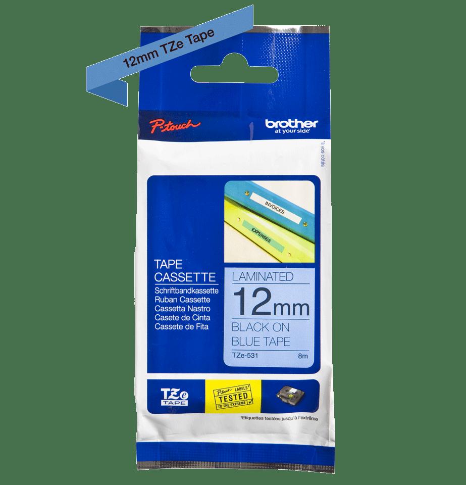 Originele Brother TZe-531 label tapecassette – zwart op blauw, breedte 12 mm 3