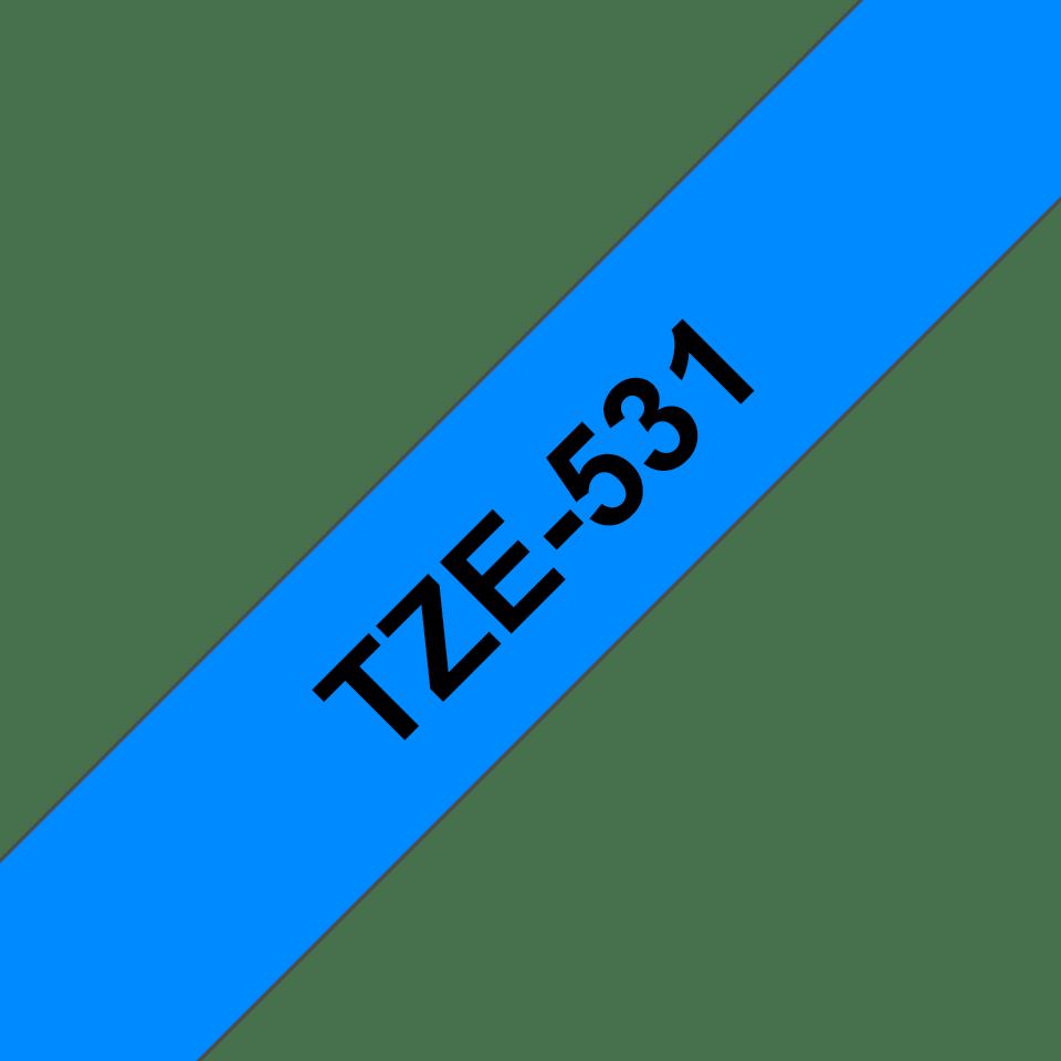 Originele Brother TZe-531 label tapecassette – zwart op blauw, breedte 12 mm