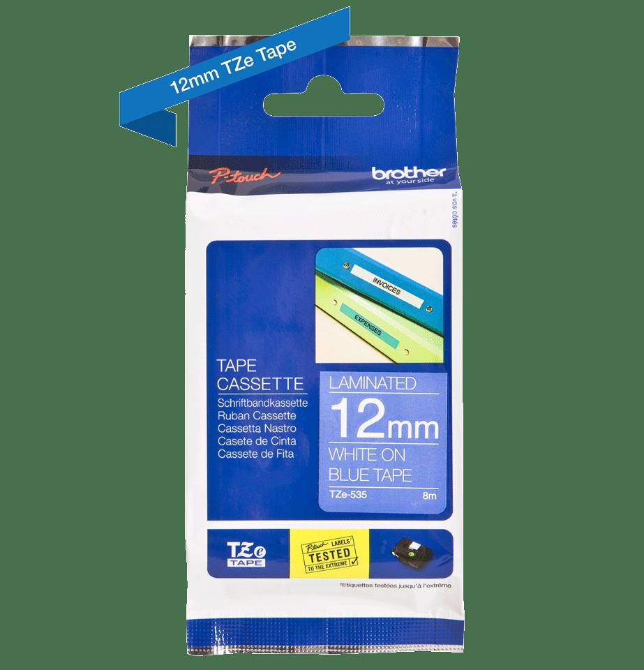 Originele Brother TZe-535 label tapecassette – wit op blauw, breedte 12 mm 3
