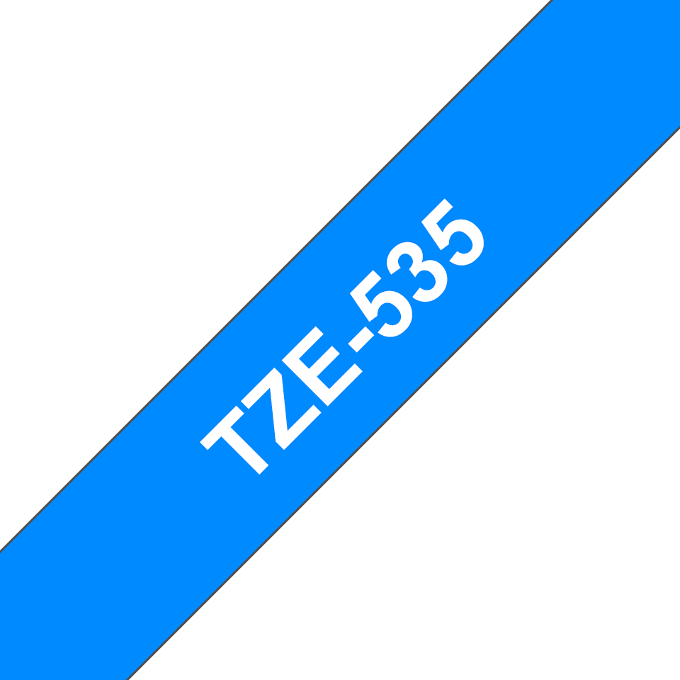 Originele Brother TZe-535 label tapecassette – wit op blauw, breedte 12 mm