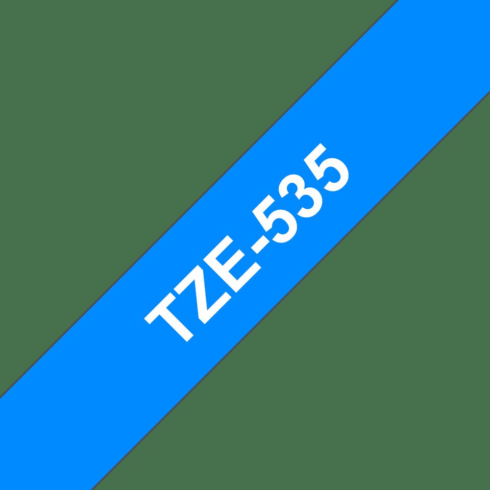 Originele Brother TZe-535 label tapecassette – wit op blauw, breedte 12 mm