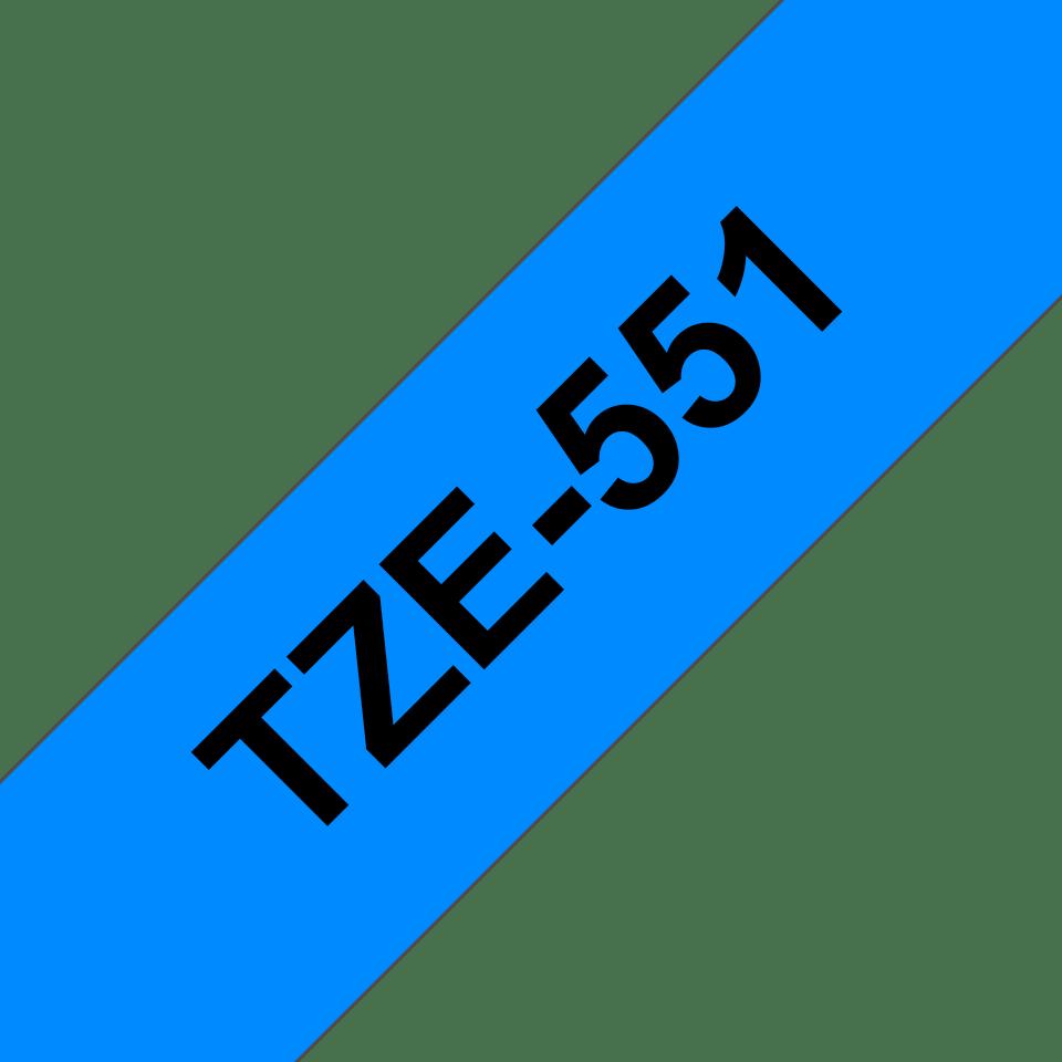 Originele Brother TZe-551 label tapecassette – zwart op blauw, breedte 24 mm