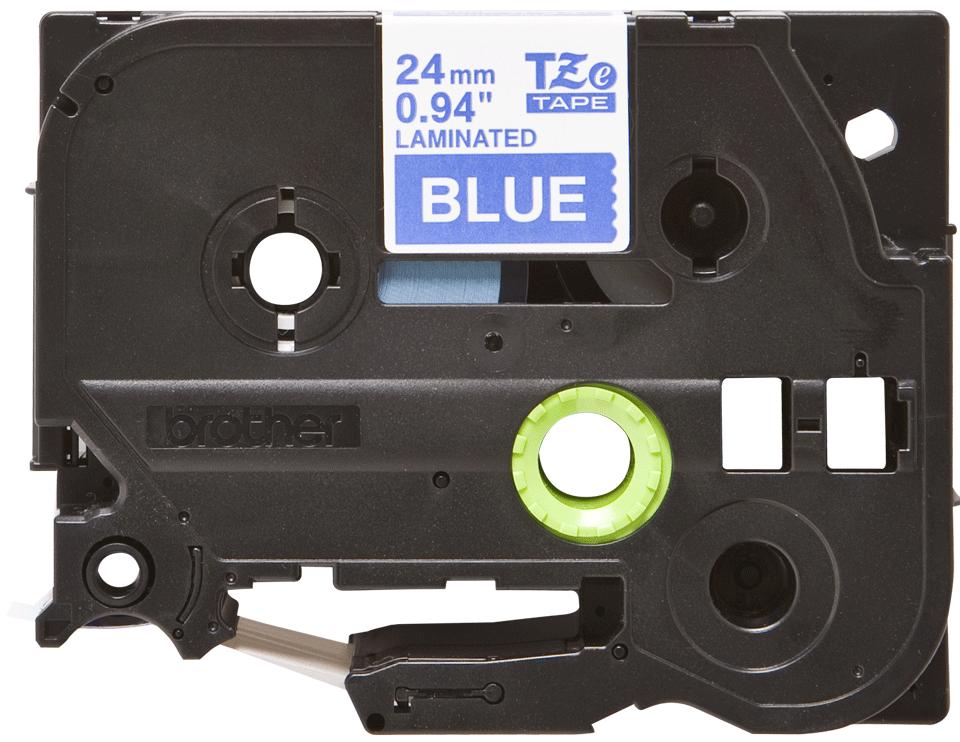 Originele Brother TZe-555 label tapecassette – wit op blauw, breedte 24 mm 2
