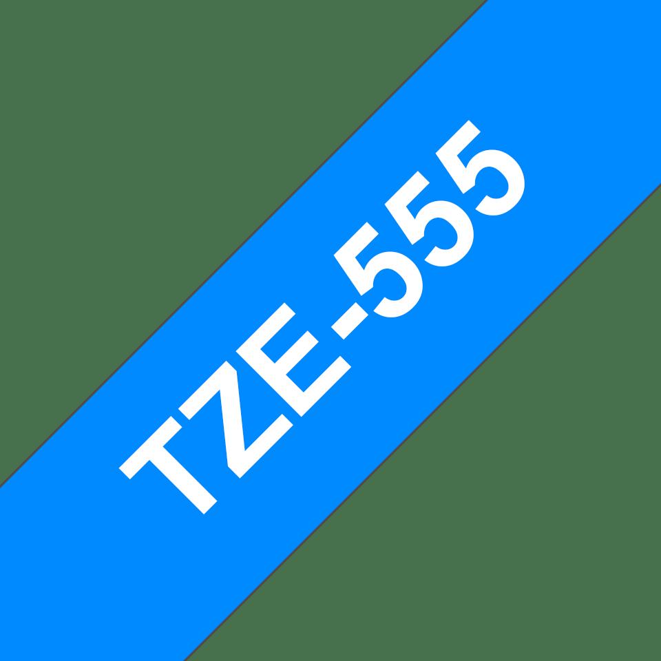 Originele Brother TZe-555 label tapecassette – wit op blauw, breedte 24 mm