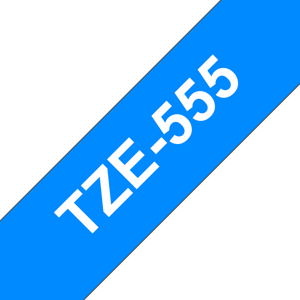 Originele Brother TZe-555 label tapecassette – wit op blauw, breedte 24 mm