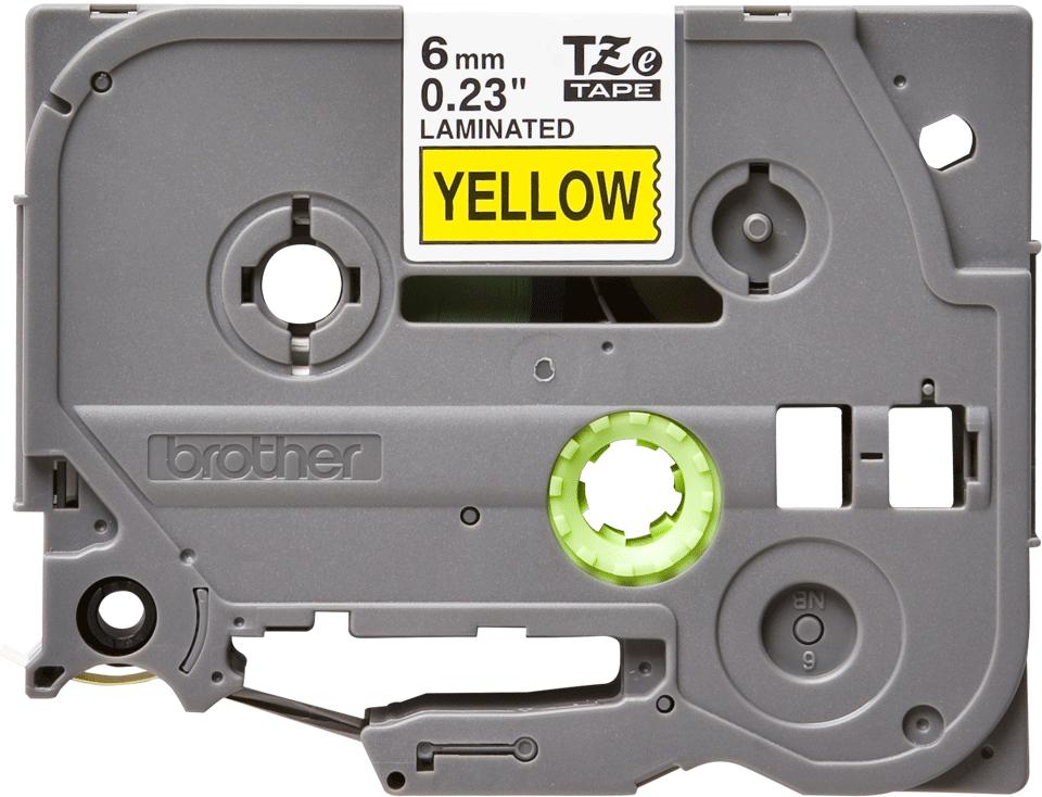 Originele Brother TZe-611 label tapecassette – zwart op geel, breedte 6 mm 2