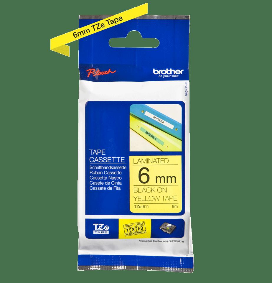 Originele Brother TZe-611 label tapecassette – zwart op geel, breedte 6 mm 3