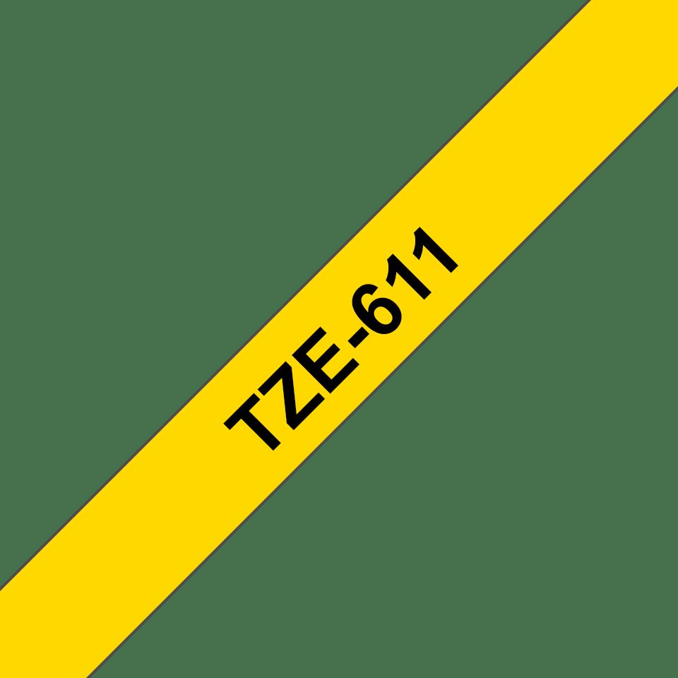 Originele Brother TZe-611 label tapecassette – zwart op geel, breedte 6 mm