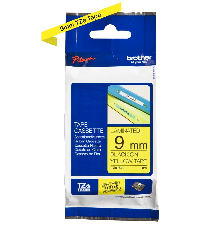 Originele Brother TZe-621 label tapecassette – zwart op geel, breedte 9 mm 3