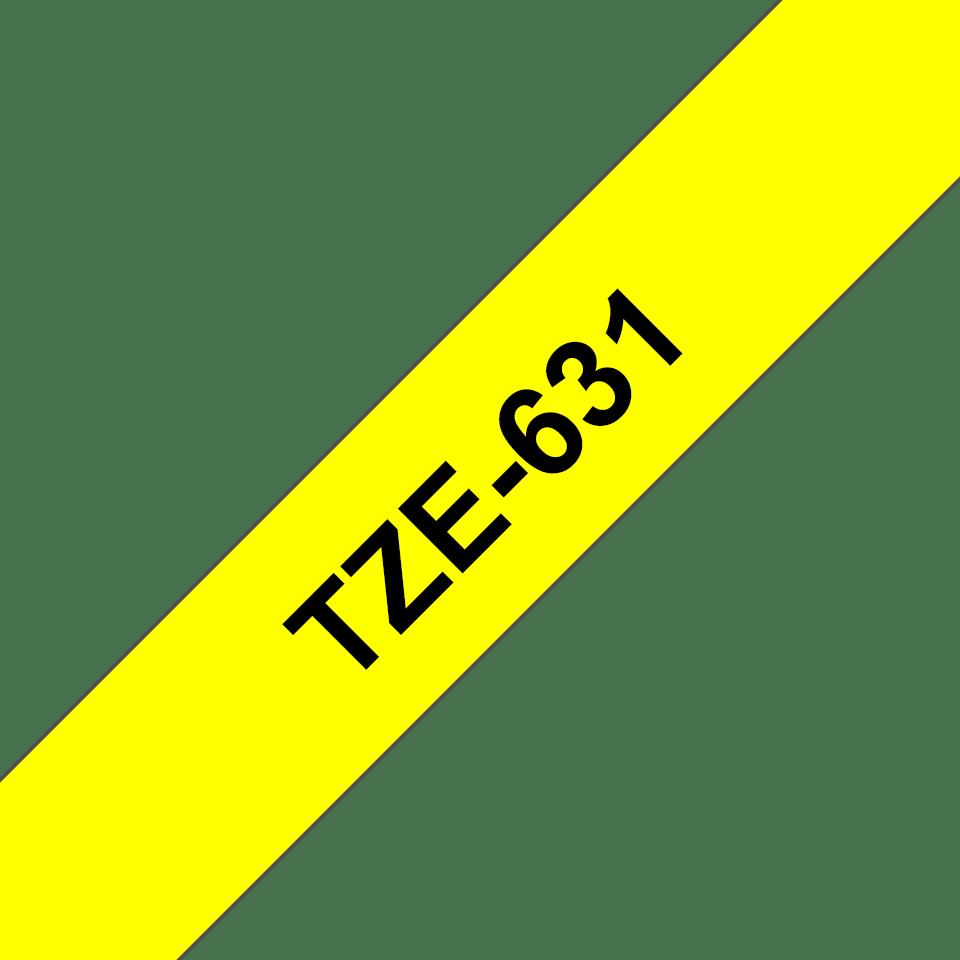 Originele Brother TZe-631 labeltape – zwart op geel, breedte 12 mm