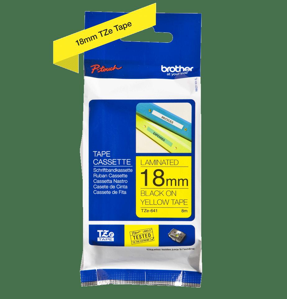 Originele Brother TZe-641 label tapecassette – zwart op geel, breedte 18 mm 3