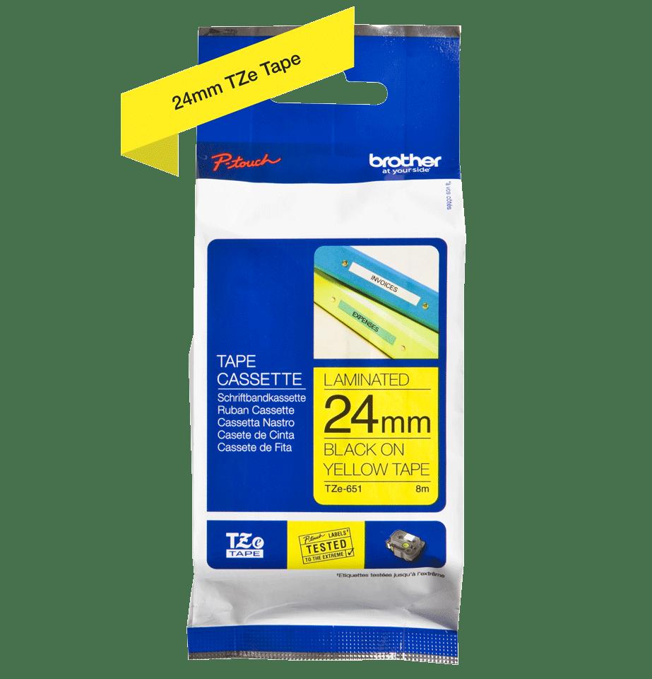 Originele Brother TZe-651 label tapecassette – zwart op geel, breedte 24 mm 3