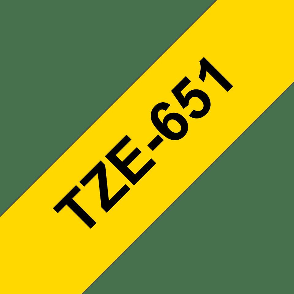 Originele Brother TZe-651 label tapecassette – zwart op geel, breedte 24 mm