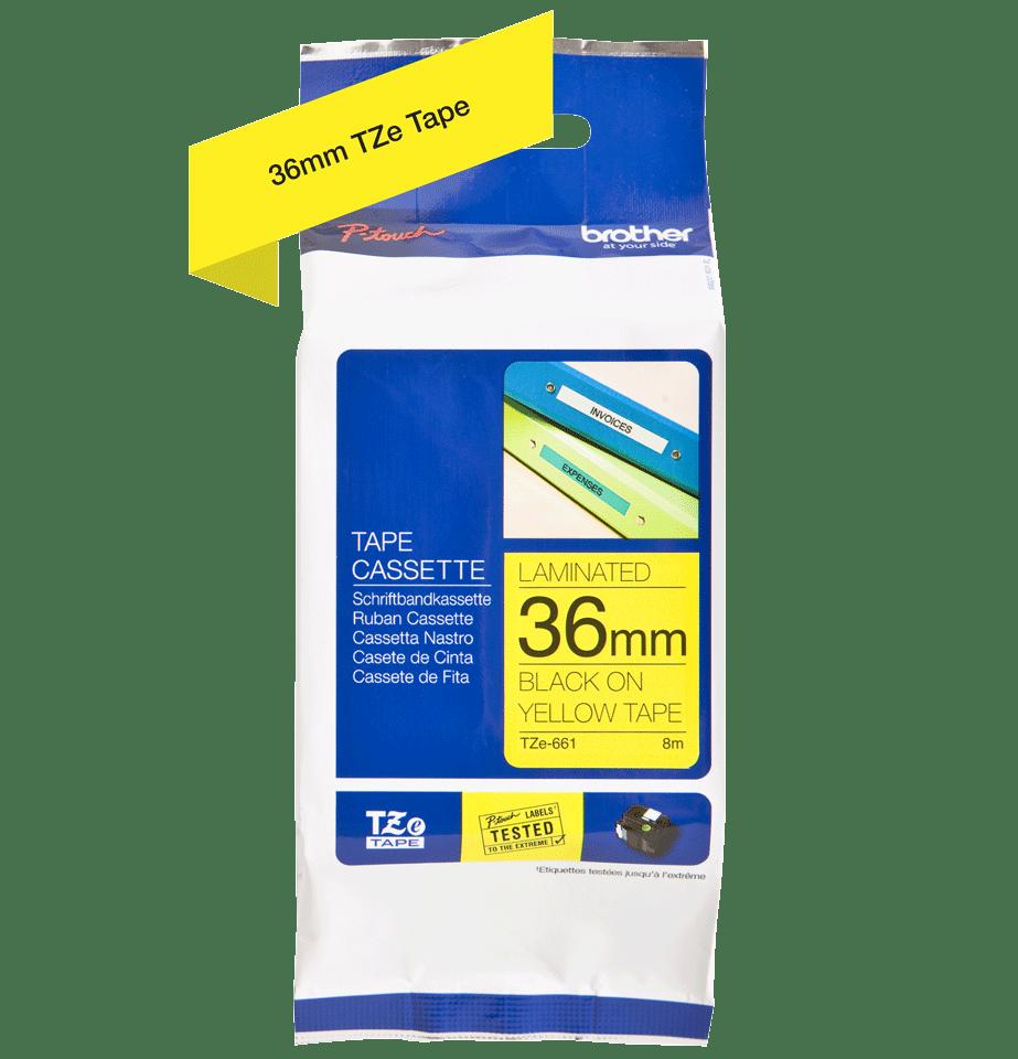 Originele Brother TZe-661 label tapecassette – zwart op geel, breedte 36 mm 3