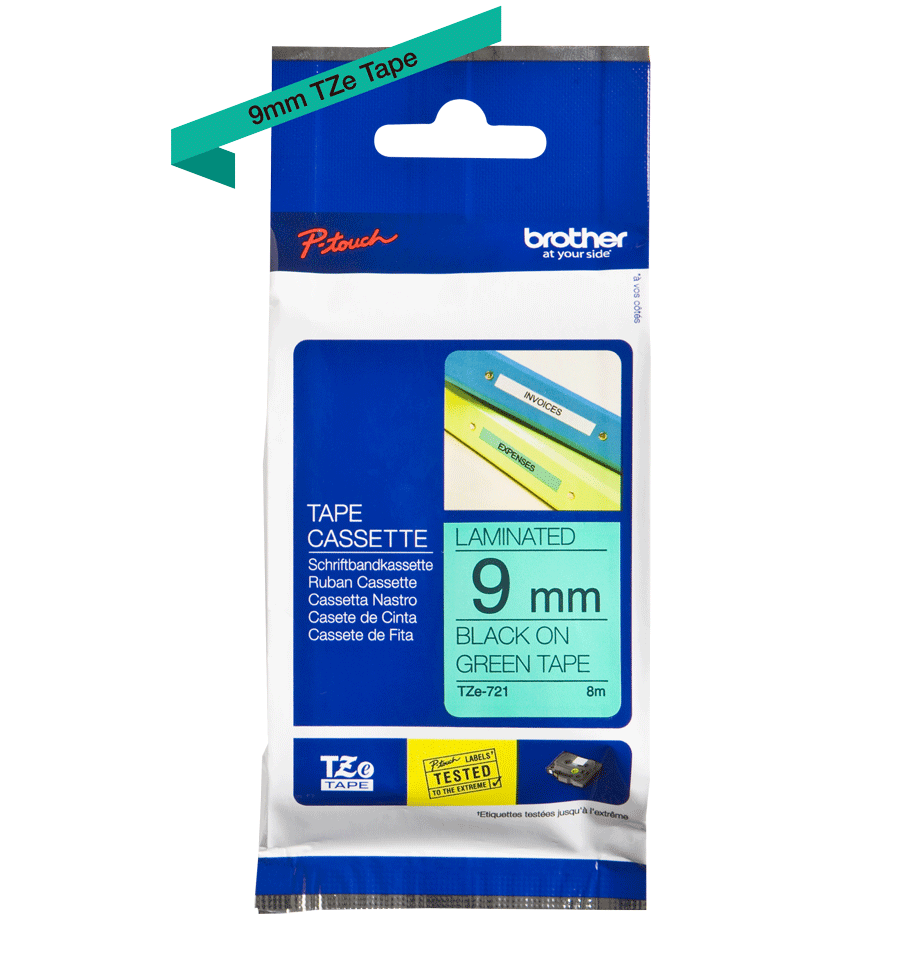 Originele Brother TZe-721 label tapecassette – zwart op groen, breedte 9 mm 3
