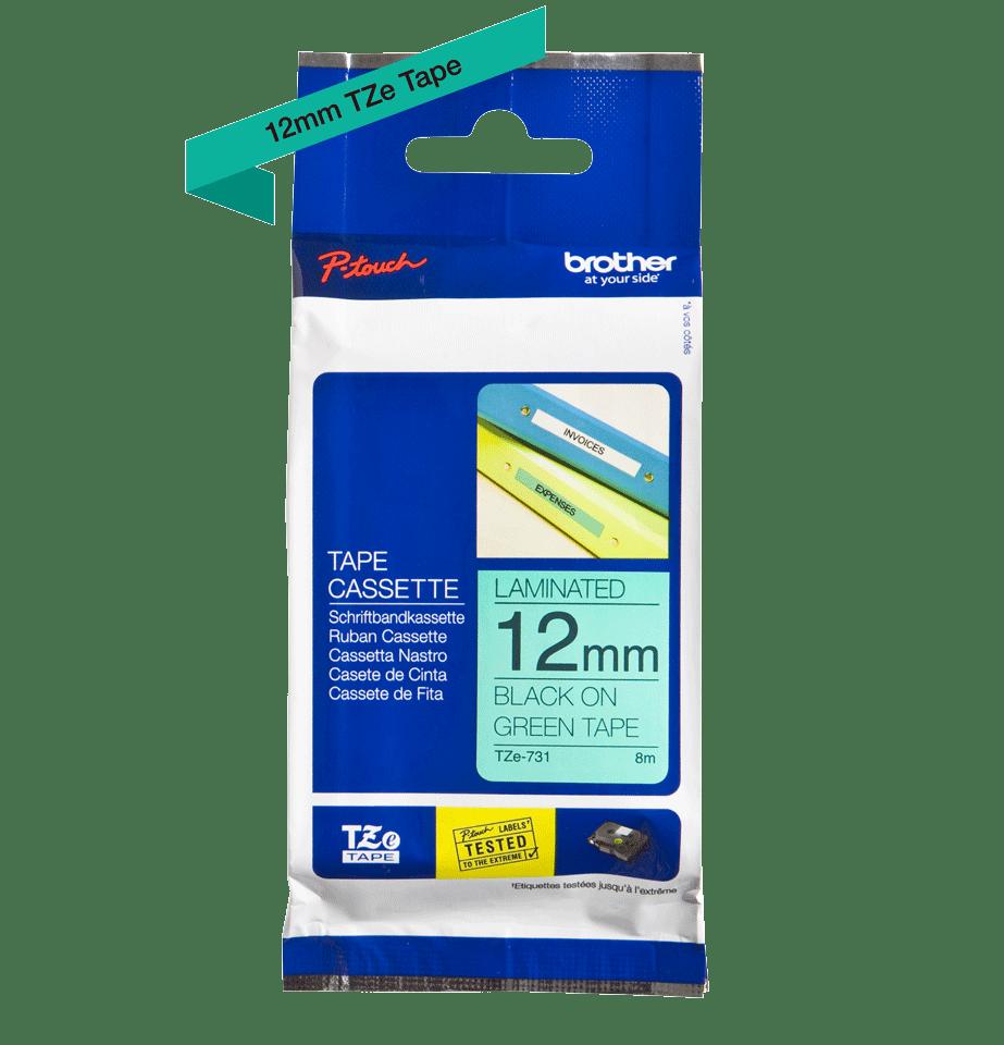 Originele Brother TZe-731 label tapecassette – zwart op groen, breedte 12 mm 3