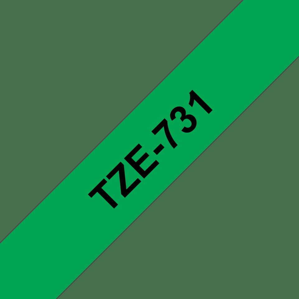 Originele Brother TZe-731 label tapecassette – zwart op groen, breedte 12 mm