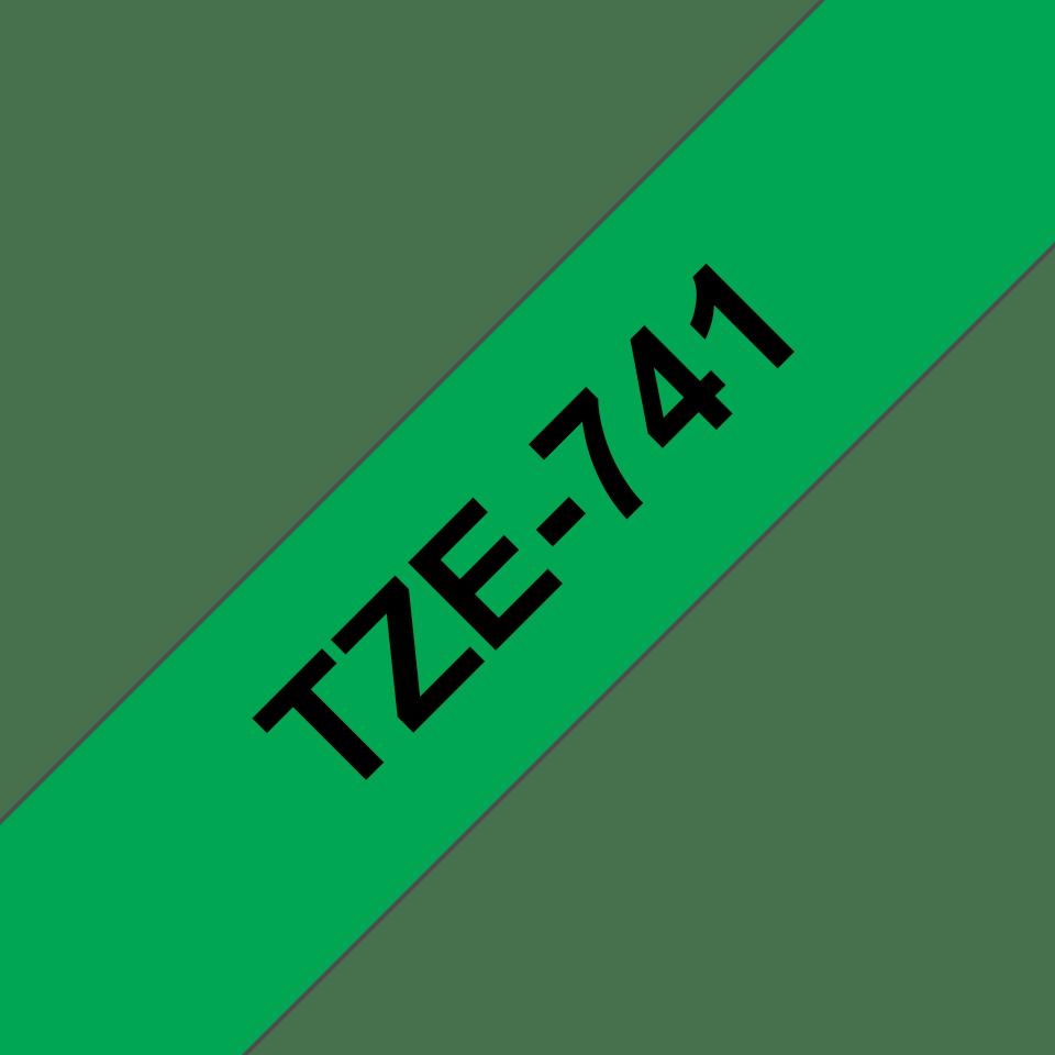 Originele Brother TZe-741 label tapecassette – zwart op groen, breedte 18 mm 3