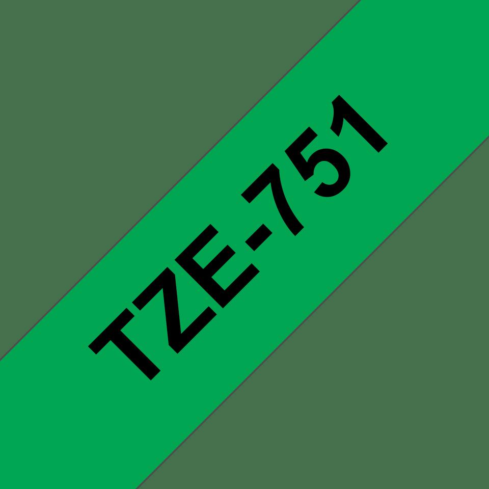 Originele Brother TZe-751 label tapecassette – zwart op groen, breedte 24 mm