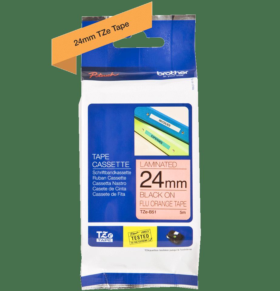 Originele Brother TZe-B51 label tapecassette – zwart op fluorescerend oranje, breedte 24 mm 3