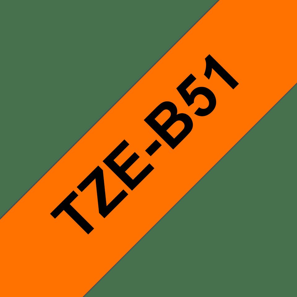 Originele Brother TZe-B51 label tapecassette – zwart op fluorescerend oranje, breedte 24 mm