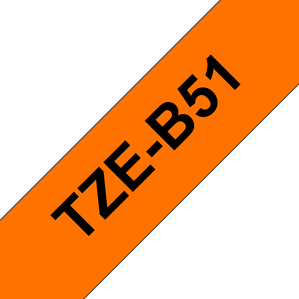 Originele Brother TZe-B51 label tapecassette – zwart op fluorescerend oranje, breedte 24 mm