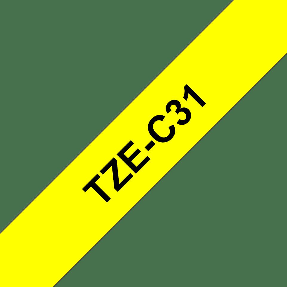 Originele Brother TZe-C31 label tapecassette – zwart op fluorescerend geel, breedte 12 mm