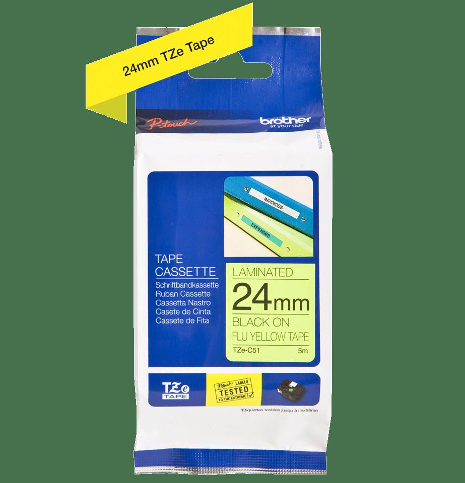 Originele Brother TZe-C51 label tapecassette – zwart op fluorescerend geel, breedte 24 mm 3