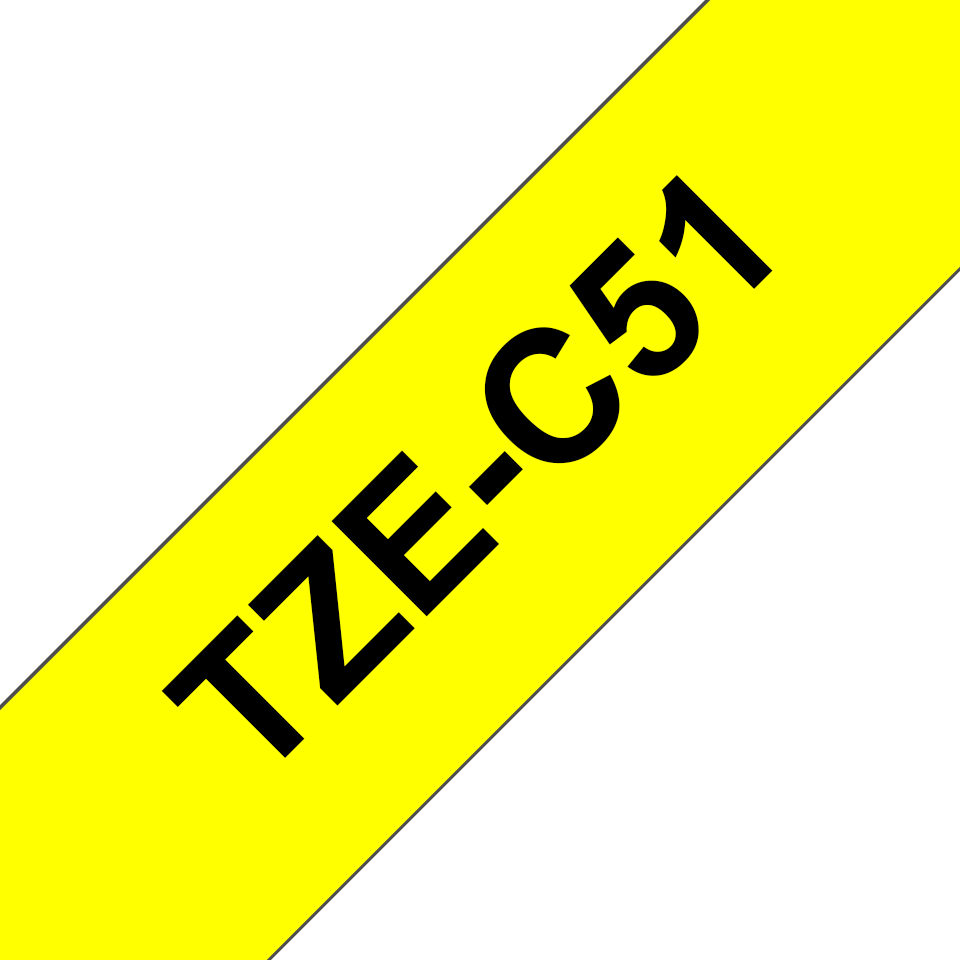 Originele Brother TZe-C51 label tapecassette – zwart op fluorescerend geel, breedte 24 mm