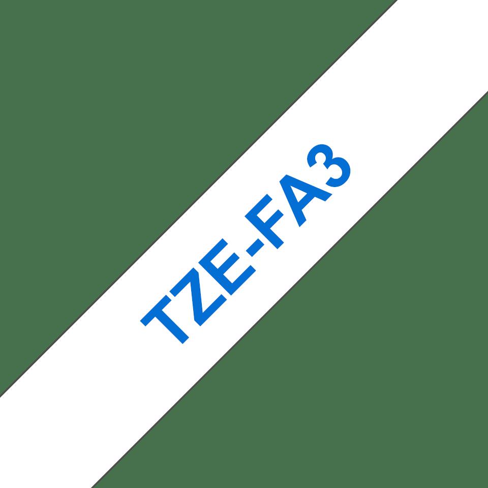 Originele Brother TZe-FA3 textieltapecassette – blauw op wit, breedte 12 mm