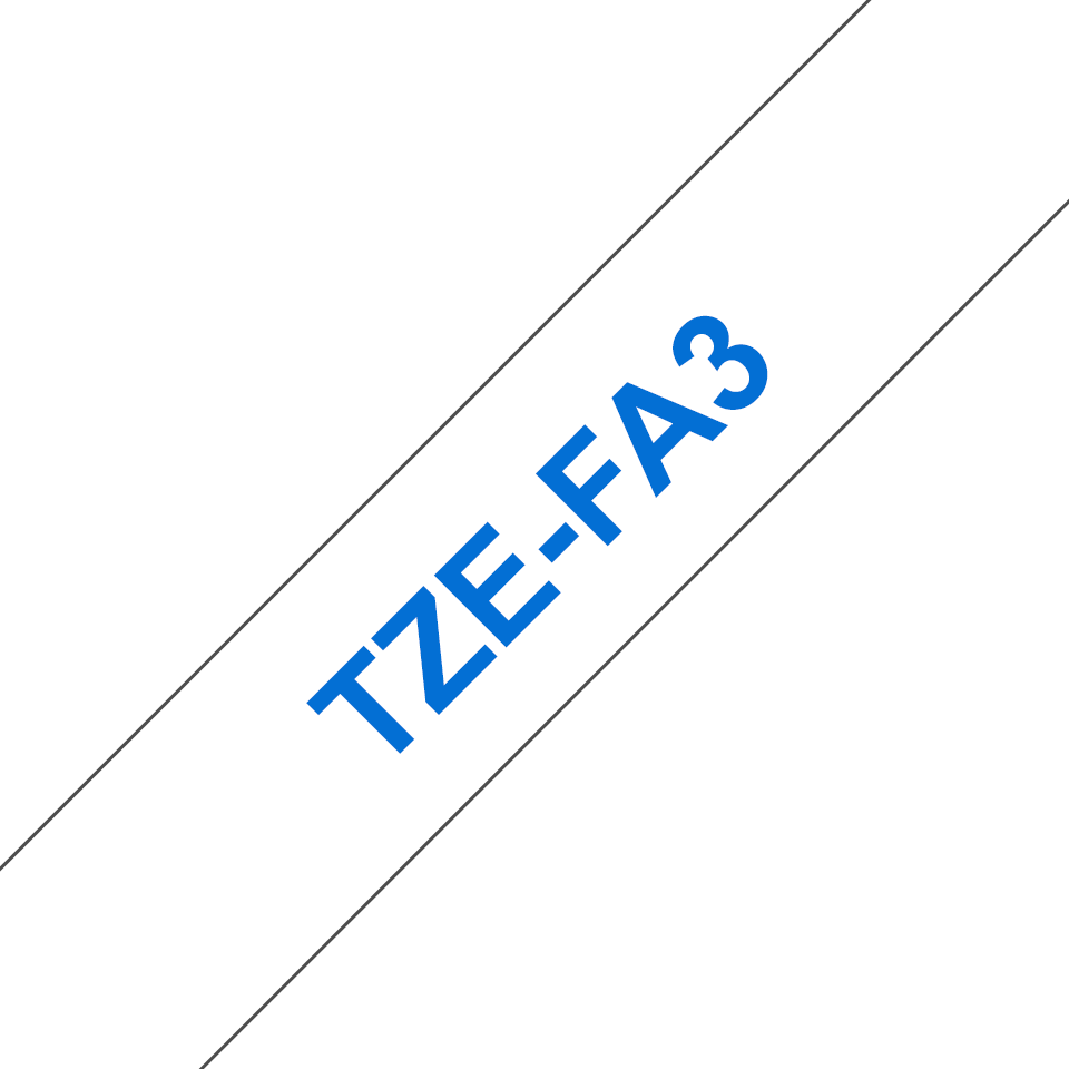 Originele Brother TZe-FA3 textieltapecassette – blauw op wit, breedte 12 mm 3