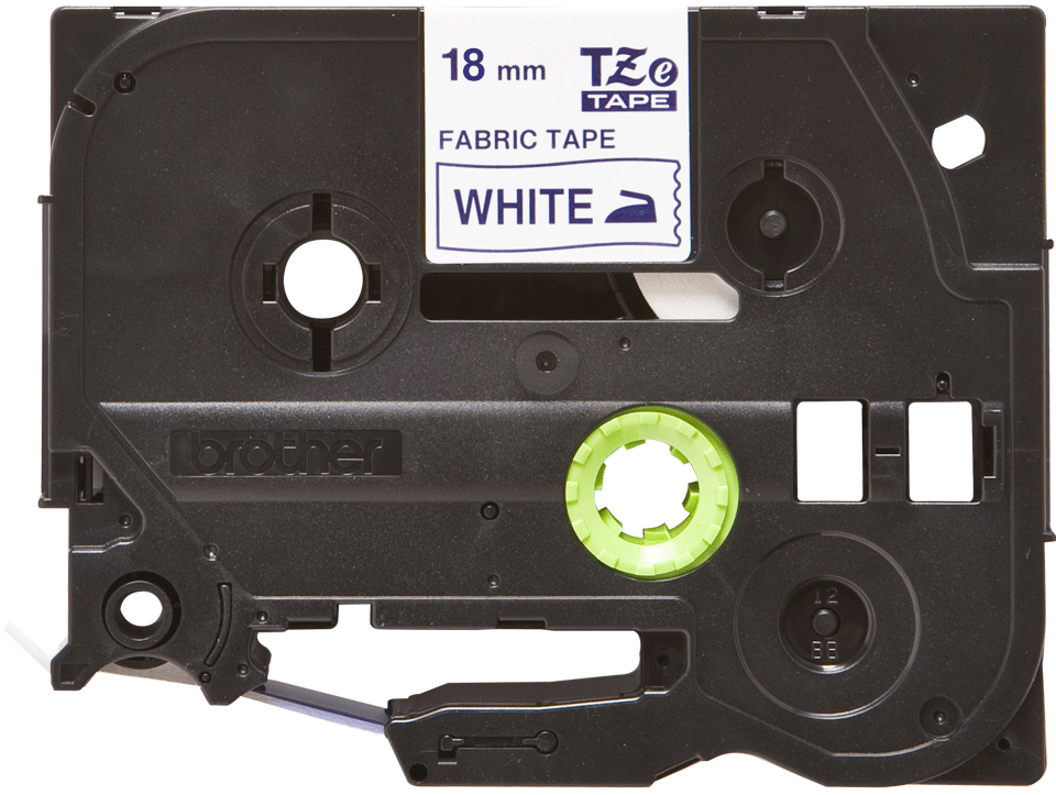 Originele Brother TZe-FA4 textieltape cassette – opstrijkbaar - blauw op wit, breedte 18 mm 2