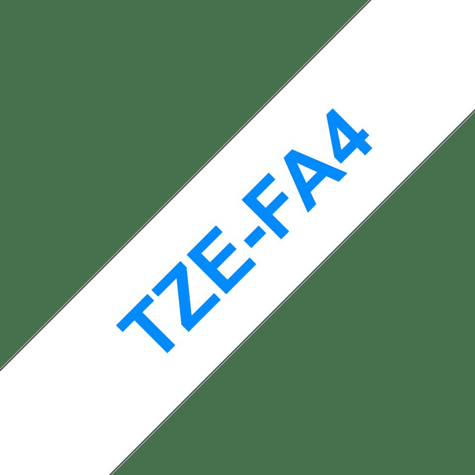 Originele Brother TZe-FA4 textieltape cassette – opstrijkbaar - blauw op wit, breedte 18 mm
