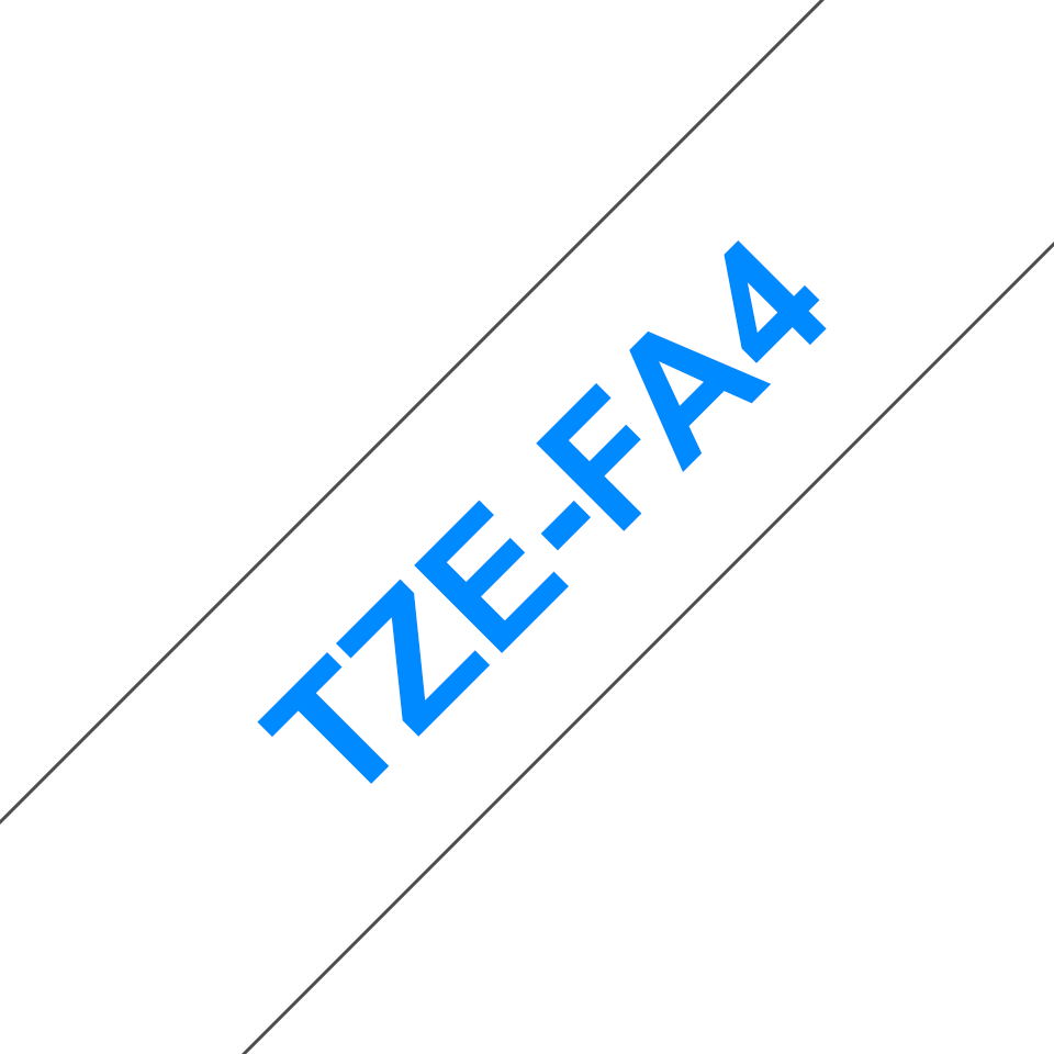 Originele Brother TZe-FA4 textieltape cassette – opstrijkbaar - blauw op wit, breedte 18 mm 3