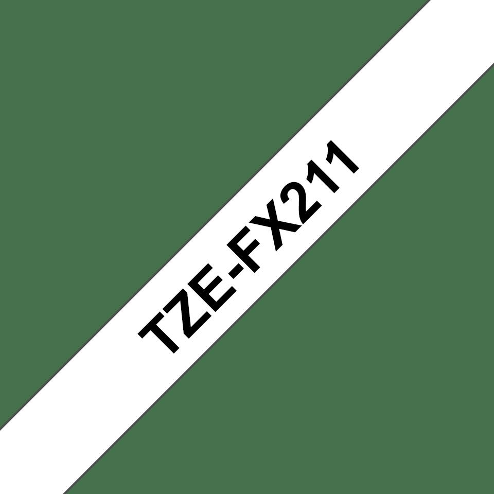 Originele Brother TZe-FX211 flexibele ID label tapecassette – zwart op wit, breedte 6 mm