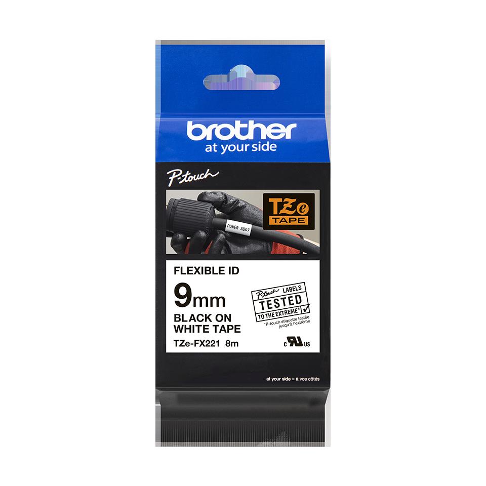 Originele Brother TZe-FX221 flexibele ID label tapecassette – zwart op wit, breedte 9 mm 3