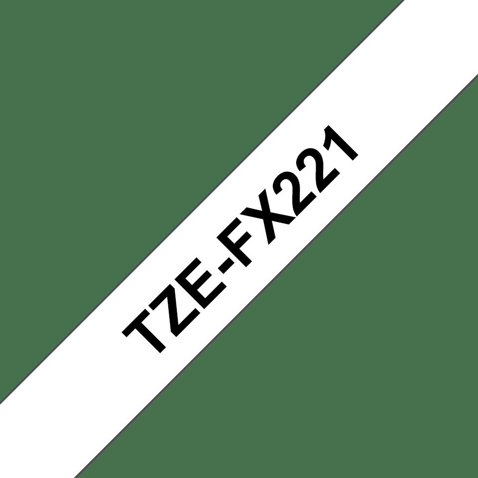 Originele Brother TZe-FX221 flexibele ID label tapecassette – zwart op wit, breedte 9 mm