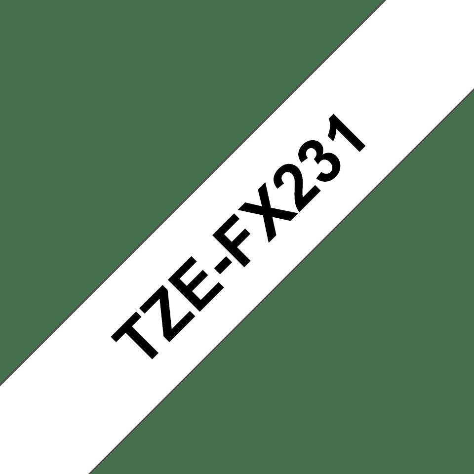 Originele Brother TZe-FX231 tapecassette – zwart op wit, breedte 12 mm