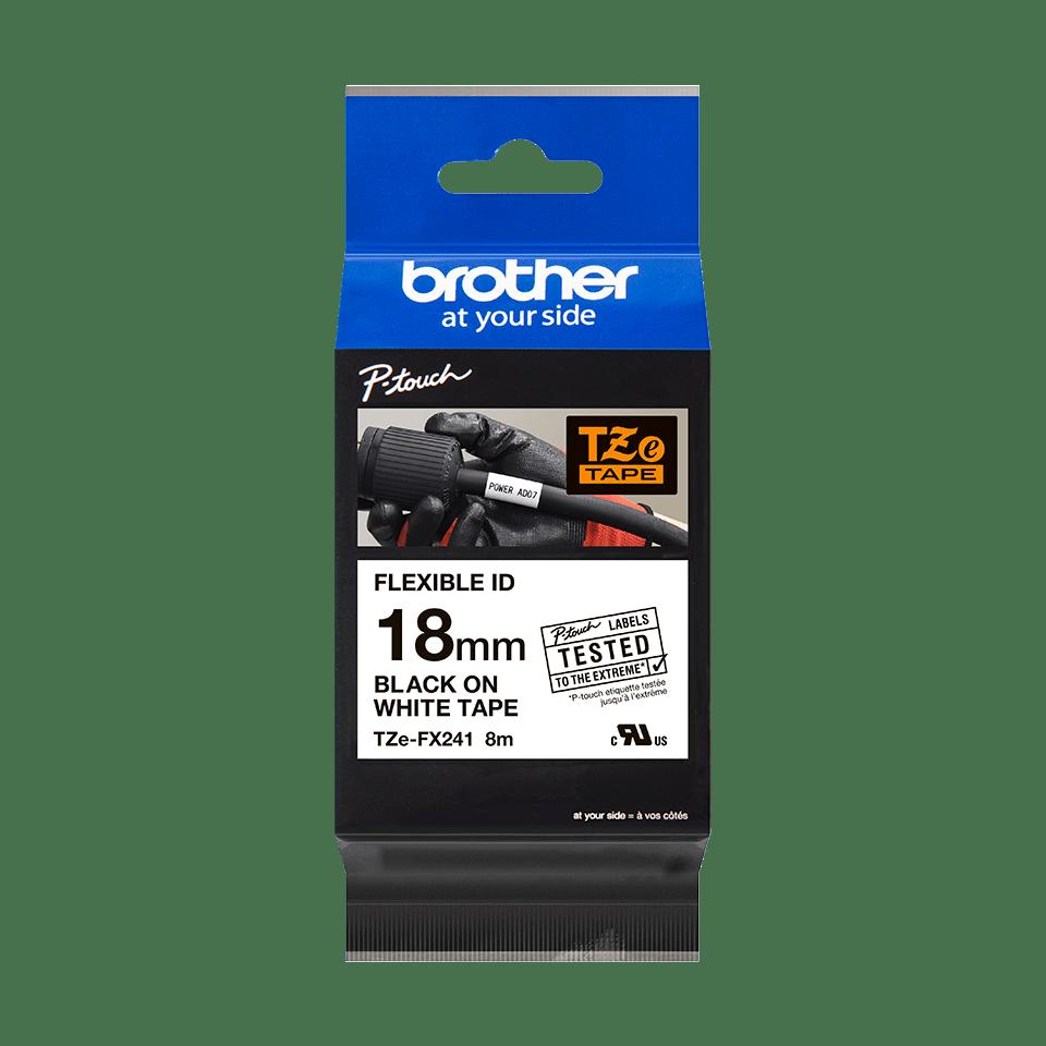 Originele Brother TZe-FX241 flexibele ID label tapecassette – zwart op wit, breedte 18 mm 3