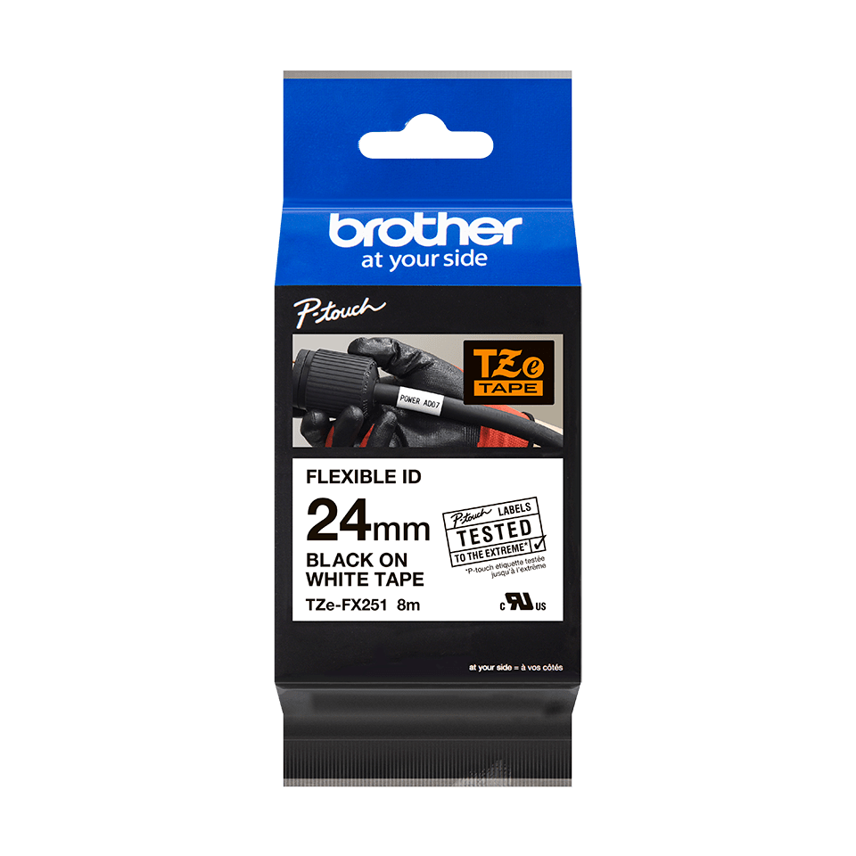 Originele Brother TZe-FX251 flexibele ID label tapecassette – zwart op wit, breedte 24 mm 3